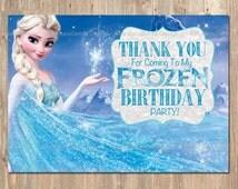 Disney's Frozen Thank You Card. --INSTANT DOWNLOAD-- Disney Frozen Elsa Party Thanks. PRINTABLE! Printable / email Thank you Birthday Card.