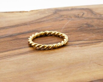 925 Sterling Silver Gold Vermeil Rope Band Ring