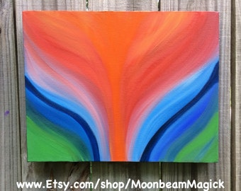 "Energy Painting ""Phoenix"" painting original 11x14 on gallery canvas Abstract Blue Green Orange Vibrant Art by Sapphire Moonbeam"