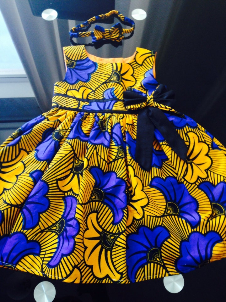 Handmade African Ankara Baby Dress Matching Headband