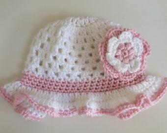 Hand Crocheted Spring/Summer Sun Hat 6-9months