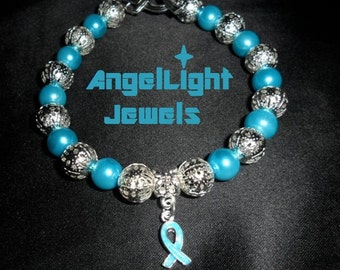 Touched by an Angel - Teal Crystal Glass Pearls and Silver Filigree Beads with Ovarian Cancer Charm - AM32