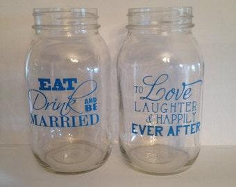 Personalized Mason Jar Wedding Vase, Custom wedding vase, Custom Mason Jar Vase, Personalized Mason Jar Vase, Wedding Flower Vase