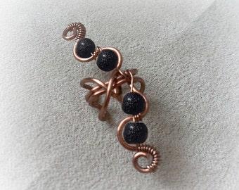 Antique Copper Ear Cuff Black Glass Moon Beads Ear Wrap