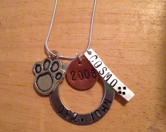 Pet and family necklace