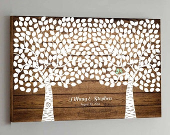 CANVAS Wedding Guest Book Wood - 350 Guests - Two Double Tree Wedding Guestbook Canvas Alternative Guestbook Canvas Wedding - Wood design