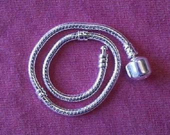 925 Sterling Silver European Charm Bead Snake Bracelet w/ Barrel Clasp