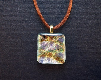 Silver and gold diamond-patterned iridescent dichroic glass pendant