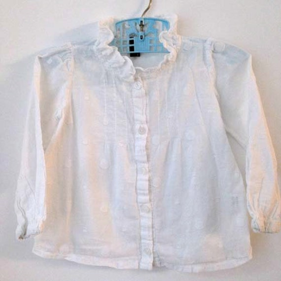 White Ruffle Neck Blouse 85