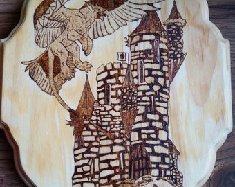 Woodburning - Gryphon & Castle