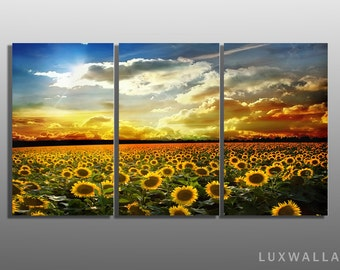 Sunflowers Triptych Metal Wall Art Ready to Hang Framed not Canvas
