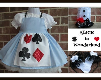 Boutique custom handmade pageant baby girls traditional inspired Alice in Wonderland dress, apron, blouse