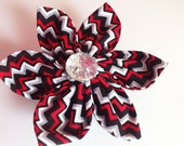 Red and Black Chevron Collar Flower for Girl Dog