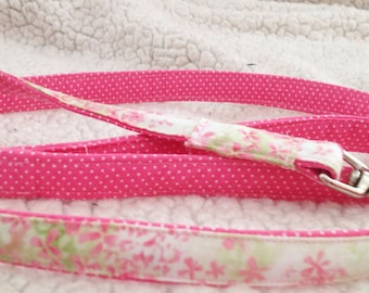 Pretty Pink Reversible Dog Leash  with Available Matching Collar and Flower -Floral & Polka Dot Design