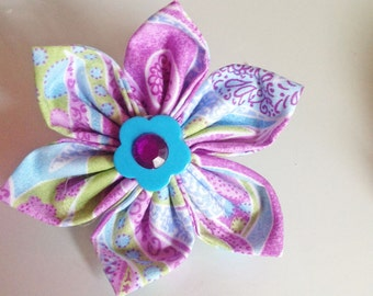 Purple Paisley Collar Flower for Girl Dog