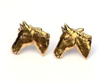 Horse Head Gold Plated Cufflinks UK Handmade Gift