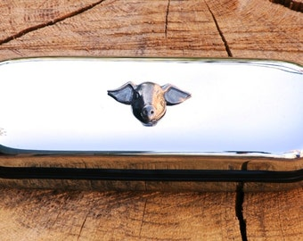 Pig Face Metal Pen Case & Ball Point Set Personalised Engraved Gift