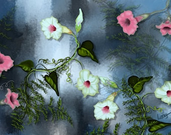 """Floral painting print, Original digital painting """"Morning Glories on the Water"""", A floral painting with a soft surreal quality."""