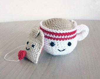 Handmade Crochet Amigurumi Play Food Tea Cup and Tea Bag Gift Set
