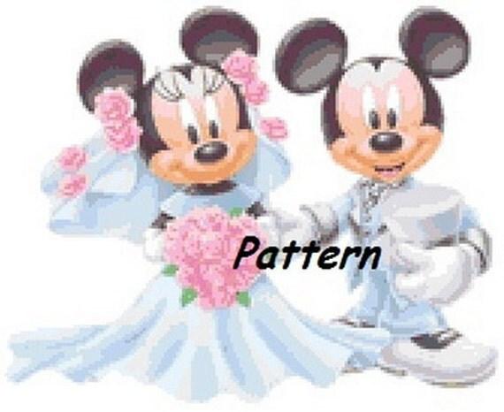 Mickey And Minnie Mouse Wedding #1. Cross Stitch Pattern