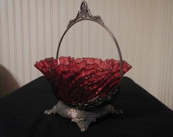 Antique Cranberry Glass Brides Basket