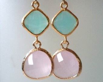 Pink and Pacific Blue Crystal Earrings. Pink and Blue Dangles. Pink and Sky Blue Chandeliers. Baby Blue and Pink. Bridal, Bridesmaids.