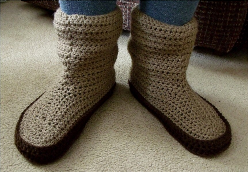 Free Crochet Slipper Boots Patterns For Adults : Slipper socks Lugg Boots digital crochet pattern.