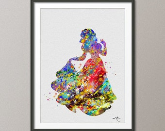 Snow White Disney Princess Watercolor Nursery Art for Girl Wedding Gift idea Girls Wall Art  Home Decor Wall Hanging [NO 144]