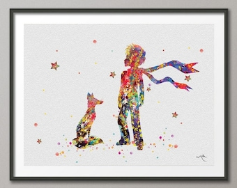 Popular items for fox watercolor on etsy Decoration le petit prince