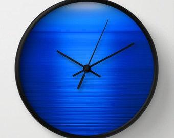 Blue wall clock unique clock modern wall clock blue office - Landscape wanduhr ...