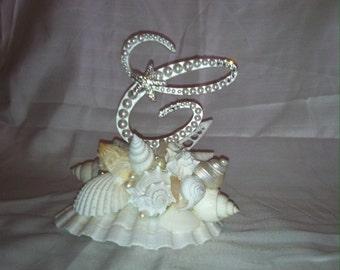 Wedding Cake Topper Shell Monogram Cake Topper With Seashells Pearls Swarovski Crystals Destination Wedding