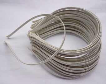 SALE--50 pcs Rice White  Satin Covered Headband 5mm Wide
