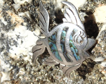 Maricela ~ Isidro Garcia Pina Sterling Silver and Abalone Fish Pin from Taxco, Mexico