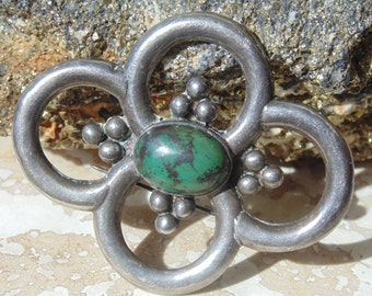Vintage Mexico Silver and Green Stone Brooch