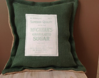 Burlap and vintage feed bag pillow