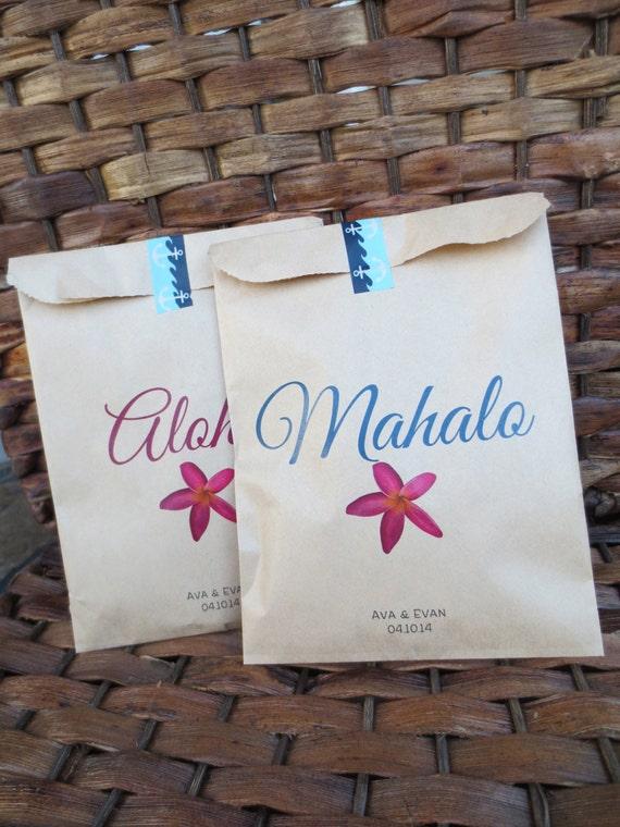 Hawaii Wedding Gift Bags : Wedding Hawaii favor bags. Set: 10 Aloha and 10 Mahalo Treat Bags ...