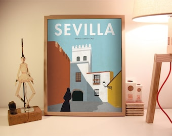 Seville. Spain. Wall decor art. Poster. Illustration. Digital print. Cities. Travel.