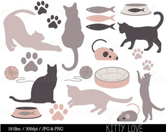 Cat Kitten Clipart Clip Art, Animal clipart, Cat Silhouette Clipart, Kitty, Pets, Paw Print - Commercial & Personal - BUY 2 GET 1 FREE!