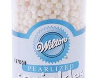 Wilton White Sugar Pearls - edible sprinkles cake, cupcakes, cookies, cake pop decorations - cupcake sprinkles