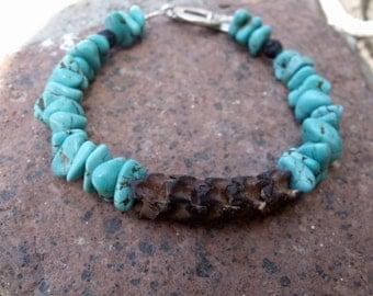 Men's Bracelet, Snake Vertebrae, men's jewelry, snake bracelet, men's turquoise bracelet, snake jewelry, native snake bracelet, snake bones
