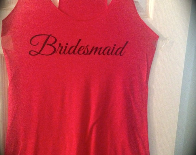 5 red racerback bridesmaid tank tops . Bridesmaid Tanks . Wedding Party Tank Tops . Maid of honor, matron of honor, mother of the bride
