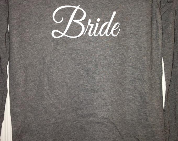 1 long sleeve Bridesmaid Shirts / Fall Weddings / Wide Neck Bride T-Shirt / Long Sleeve slouchy bridesmaid Shirt / Bridesmaid Gifts