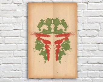 """Boba Fett Rorschach Poster (Star Wars) - 11"""" x 17"""""""