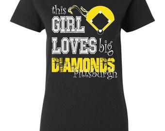 This girl loves big diamonds oakland custom t shirt by for Custom t shirt printing pittsburgh