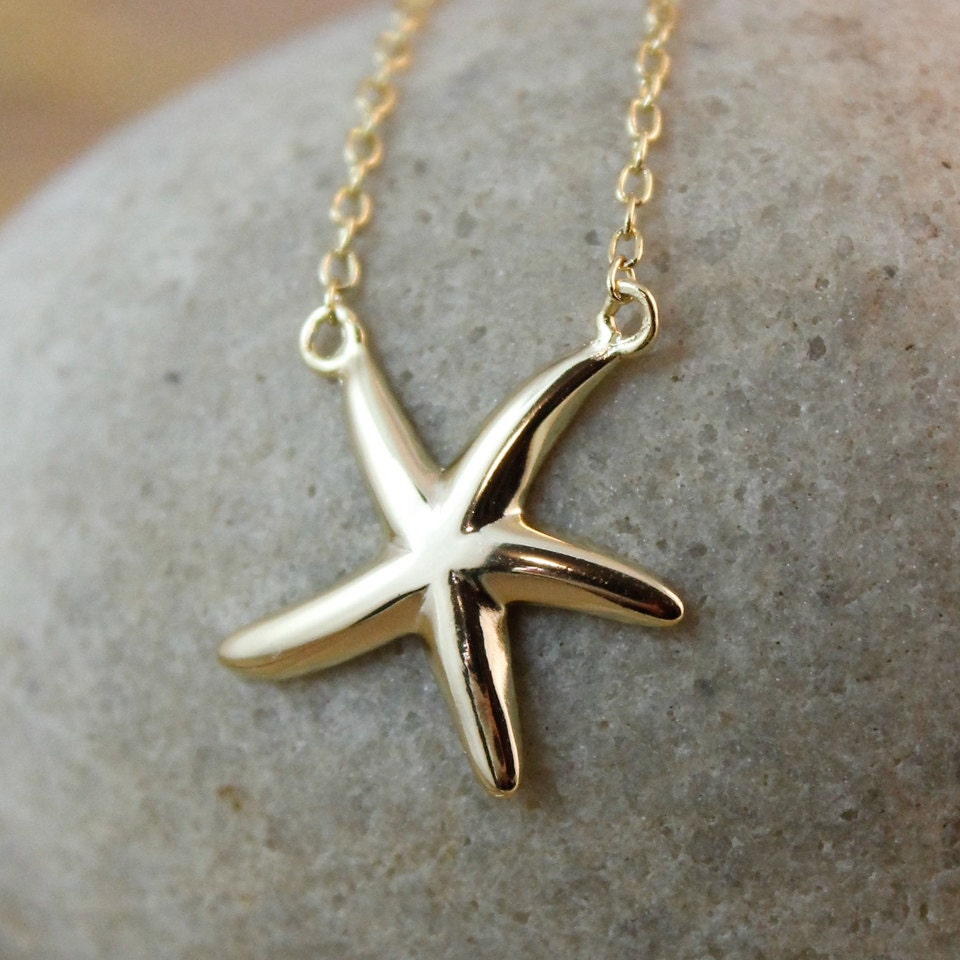 tiny gold starfish charm necklace sterling silver gold