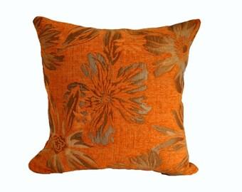 Orange pillow,flower pillow,damask pillow, pillow shams, toss pillows, decorative pillow cover, cushion, accent pillow, sofa pillow
