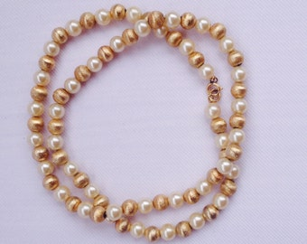 Vintage Faux Pearl & Gold Tone Bead Necklace- Elegant Bridal Jewelry, Mother of the Bride-Wedding Necklace