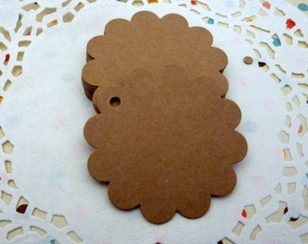25 Brown Kraft Paper Flower Shaped Gift Tags Price Tag Crafts 6 x 6cm