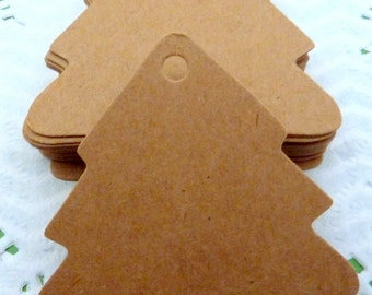 25 Brown Kraft Paper  Christmas Tree Gift Tags Price Tag Crafts 5.5 x 5.6 cm