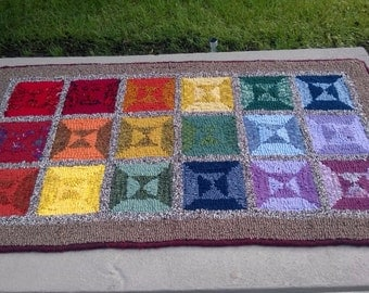 "Primitive hooked rug - ""Rainbow Windows"" 42""x23"""